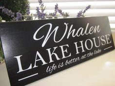 Custom Family Name Wood Sign, Lake House Sign, Cabin Sign, Shore House,life is better at the lake, Lake House Decor, on Etsy, $34.95 lake houses, shore house, cabin signs, life is better at the lake, lakehous, lake house signs, custom famili, hous sign, cabin wood sign