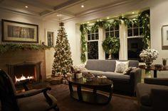 Classy Christmas.... Garland around the windows