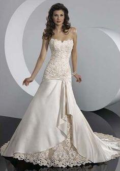 Amazing A-Line/Princess Sweetheart Chapel Train Satin Wedding Dresses With Ruffle Beadwork