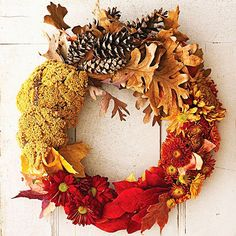 midwest living, season, color, shades of red, fall decorating, fall decorations, door, fall wreaths, autumn wreaths