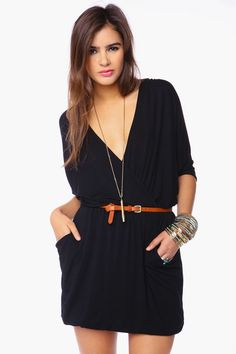 Draped Across Dress - Black