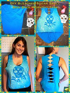 DIY Bleached Sugar Skull hi-low bow back tank repurposing reconstructing recycling craft crafting workout tank t shirt tshirt t-shirt cutting cut cutout