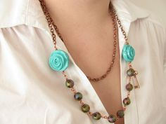 Spring fashion - Romantic Necklace - Copper Necklace. #necklace
