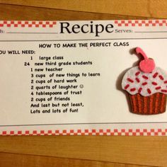 For students at meet the teacher! students, recip card, recipe cards, school year, educ, teacher, back to school, 3rd grade