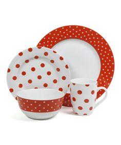 Look at this #zulilyfind! Orange Dot Luxe 16-Piece Fine Ceramic Dinnerware Set by Isaac Mizrahi #zulilyfinds