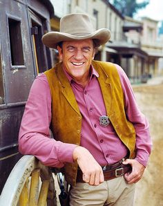 James Arness     best known for playing Marshal Matt Dillon on Gunsmoke