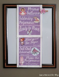Ballerina Behavior Chart Hanging--Love the concept, but need to tweak for younger ones who don't read so well yet.