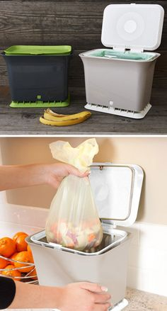 Odor-free kitchen compost collector - allows oxygen to easily flow through your organic kitchen waste, allowing for aerobic breakdown. Composting keeps garbage out of landfills (where it never has a chance to break down) and it makes amazing soil for your garden. #ecofriendly