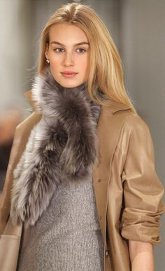 This Ralph Lauren Collection glamorous pull-through shearling scarf is made in the USA.