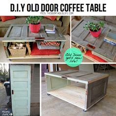DIY Old door coffee table decor, coffee tables, idea, salvaged doors, door project, old doors, diy, coffe tabl, door coffe