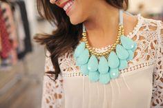 Dottie Couture Boutique - Statement Necklace Set- Mint, $12.00 (http://www.dottiecouture.com/statement-necklace-set-mint/)