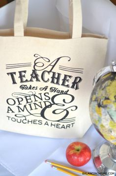 Teacher Appreciation Tote Gift Idea by Balancing Home for Tatertots and Jello!! #DIY teacher gifts, teacher appreciation, gift ideas, bag, tote gift, teacher totes, diy teachers leaving gifts