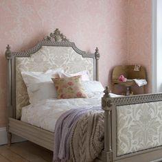 Pink Damask print bedroom