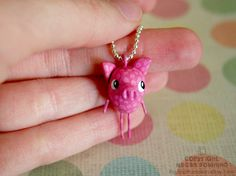 Mini Charm - Pinky the Pig - Mini Paperclay Sculpture - Necklace OR Ornament. By PigAndPumpkin on Etsy
