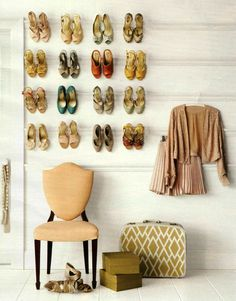 Too much storage space is a problem that most of us would like to have. Because we usually are faced with the opposite problem, I am always on the lookout for creative solutions.    Shoes can be especially hard to store if you are short on closet space.  If you have a lot of heels and a little bit of free wall space, hanging your shoes on a decorative piece of molding is a great idea.