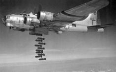 The B-17 heavy bomber at bomb release.