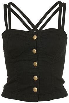 MOTO Black Denim Button Front Cross Back Top - New In This Week - New In - Topshop USA - StyleSays