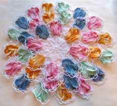 Maggie's Crochet · Vintage Variegated Tulip Doilies Set Crochet Pattern crochet flower, tulip doili, doili set, tulips, vintage crochet, crochet doilies, crochet patterns, vintag varieg, set crochet