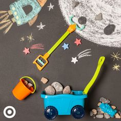 """That's three small steps for little ones. And one giant leap for summer fun.  1. Draw a driveway galaxy with colored chalk.  2. Add some """"moon"""" rocks. 3. Use the grabber to load 'em into the moon buggy."""
