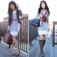 From work to weekend: striped sweater dress