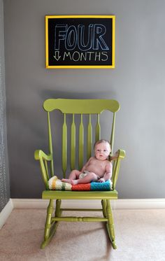 monthly baby photo idea :) love that lime green rocking chair too!