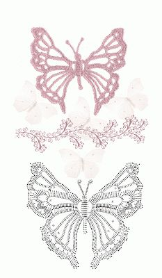 Crocheted butterflies with pattern/charts