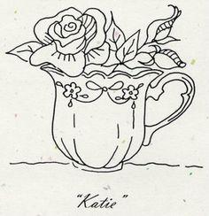 basket embroideri, rose, tea parti, embroidery patterns, embroideri pattern, cups, teacup embroidery, flower baskets, rock