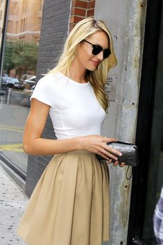 Chloe Rose Boutique - plain tan skirt with a white shirt - classic