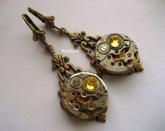 Yellow steampunk earrings by KoollooK