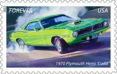 """""""Our angriest, slipperiest-looking body shell wrapped around ol' King Kong hisself."""" That's how one ad described the bold and powerful 1970 Plymouth Hemi 'Cuda. This performance-oriented alter-ego of the 1970 Plymouth Barracuda is the third of five vehicles featured on the soon-to-be-released Muscle Cars stamps.  (Dodge Charger Daytona and Plymouth Hemi 'Cuda are trademarks of Chrysler Group LLC.)"""