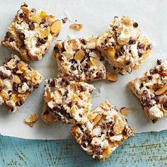 Chocolate, Coconut, and Almond Bars / BHG | excellent combo.