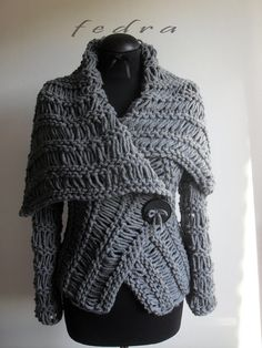 Wrap sweater,Gray sweater,  brown sweater,   handmade sweaters, cardigan,   sweater for all sizes on Etsy, $200.00
