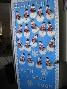 Chill Out with a Good Book snowman themed door