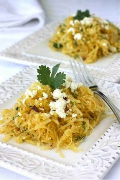 Baked spaghetti squash with garlic, butter and herbs from ...