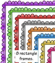 COLORFUL WHIMSY DOODLE FRAMES - 2 styles! $ TeachersPayTeachers.com