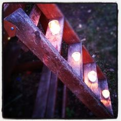 Candles up the stairs for my recent backyard birthday party for my honey.  From One tomato, two tomato.