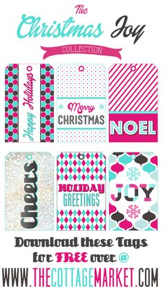 Free Printable Holiday Gift Tags with Sparkle