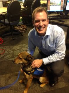 Mike Bettes and Butler...the new Weather Channel theropy dog  #wxchanneldog