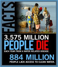 The water crisis - nearly one billion people live without access to safe, clean, drinking water.