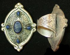 Large ornate silver and lapis tribal ring by ethnicgoodsjewelry, $260.00
