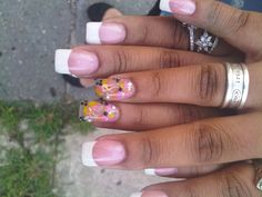 White tip Two nails with pink and green flowers (hand paint)