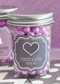 Personalized Theme Mini Mason Jars, Style EB2310T #davidsbridal #purpleweddings #weddingfavors