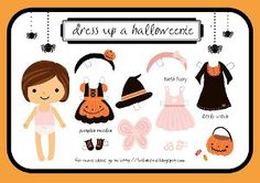 Printable Halloween Paper Doll - girl costumes