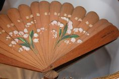 Natural Wood Fan with Flowers very Primitive by VintagebyViola, $19.00