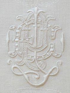 Antique Monogrammed Linen Damask Napkins