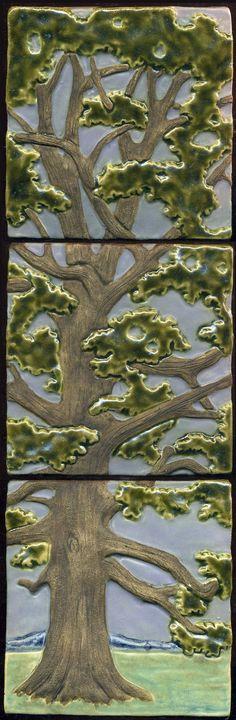 Craftsman Style Solitary Oak Tree Triptych  3, Ravenstone Tiles
