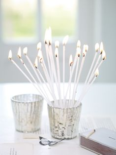Celebration Tapers - white