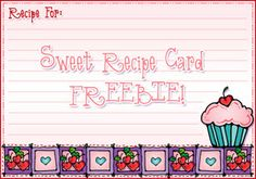 This sweet little Recipe Card FREEBIE will be just the thing for recording the secrets to your most delectable Valentine treats!  Available through 1/29/14...