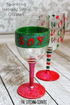 The Stitching Scientist: DIY Sparkling Holiday Wine Glasses - add a festive touch to your Christmas party! holiday DIY using Mod Podge - click thru for the full tutorial! #modpodge #modpodgeholiday