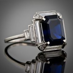 Art Deco Sapphire Ring 5 carats 1930